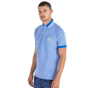 Tommy-Camisa-Polo-Masculina-Oxford-Regular-Fit-Manga-Curta-Bordado-Frontal-Logo-Na-Manga---P
