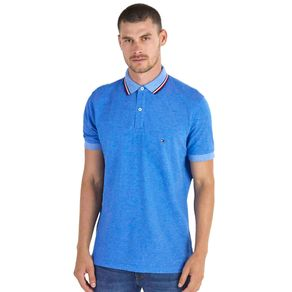 Tommy-Camisa-Polo-Masculina-Oxford-Regular-Fit-Manga-Curta-Lisa-Detalhe-Listras-Na-Gola---P