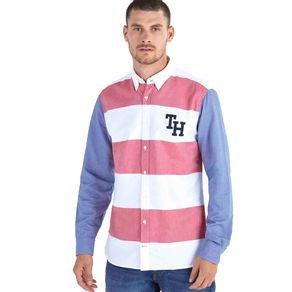 Tommy-Camisa-Masculina-Regular-Fit-Manga-Longa-Oxford-Mix-De-Tecidos-Maxi-Listras-Bordado-Frontal---P