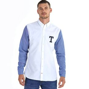 Tommy-Camisa-Masculina-Regular-Fit-Manga-Longa-Oxford-Mix-De-Tecidos-Bordado-Frontal---GG
