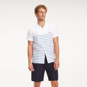 Tommy-Camisa-Regular-Fit-Manga-Curta-Listras---G