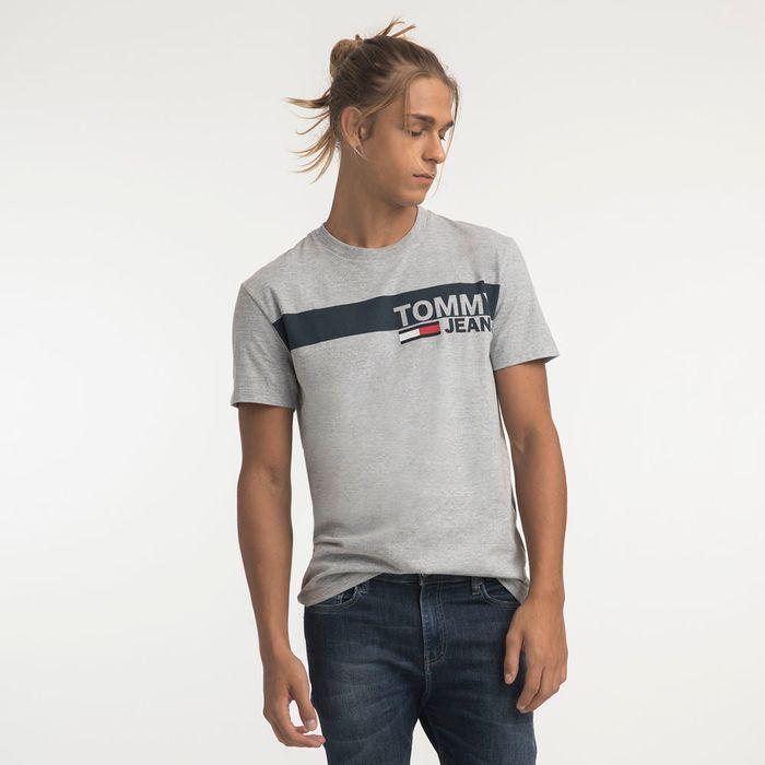 83d8bc1b34 Tommy Jeans Camiseta Manga Curta Estampa Faixa