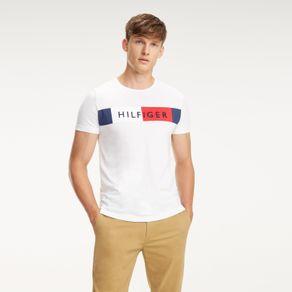 Tommy-Camiseta-Manga-Curta-Estampa-Bandeira-E--Hilfiger-