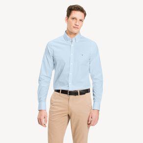 Tommy-Camisa-Classica-Masculina-Manga-Longa-Modelagem-Slim-Com-Logo-Bordado-No-Peito