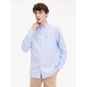 Tommy-Camisa-Masculina-Manga-Longa-Modelagem-Regular-Com-Detalhe-Nas-Costuras-Laterais-E-Logo-Bordado-No-Peito