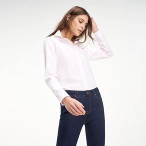 Tommy-Camisa-Classica-Feminina-Manga-Longa-Modelagem-Regular-Listrada-Com-Logo-Bordado-No-Peito