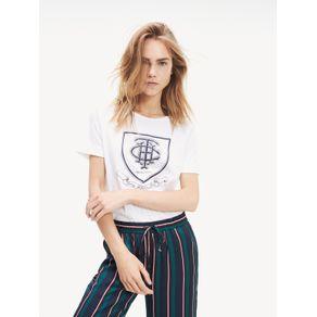 Tommy-Camiseta-Feminina-Gola-Careca-Manga-Curta-Com-Estampa-Frontal