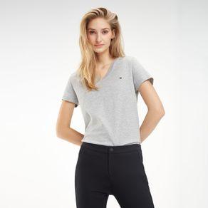 Tommy-Camiseta-Feminina-Gola-V-Manga-Curta-Com-Logo-Bordado-No-Peito