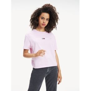 Tommy-Jeans-Camiseta-Feminina-Manga-Curta-Modelagem-Regular-Com-Bordado-Frontal-E-Logo-Pequeno-Bordado-Na-Manga