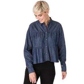 Tommy-Jeans-Camisa-Chambray-Feminina-Manga-Comprida-Com-Drapeados