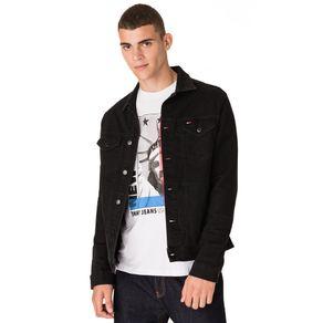 Tommy-Jeans-Jaqueta-Jeans-Preta-Masculina-Com-Logo-Pequeno-Bordado-No-Bolso