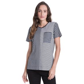 Tommy-Camiseta-Feminina-Gola-Careca-Manga-Curta-Listrada-Com-Bolso