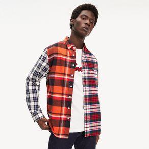 Lewis-Hamilton-Camisa-Masculina-Manga-Longa-Modelagem-Regular-Xadrez