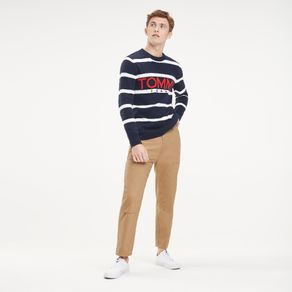 Tommy-Jeans-Sueter-Masculino-Listrado-Gola-Careca