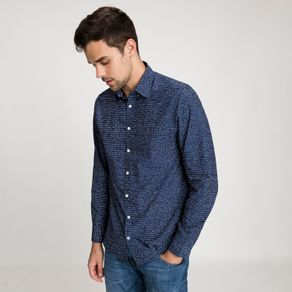 Tommy-Camisa-Masculina-Popeline-Regular-Fit-Manga-Longa-Micro-Estampa-Tracos