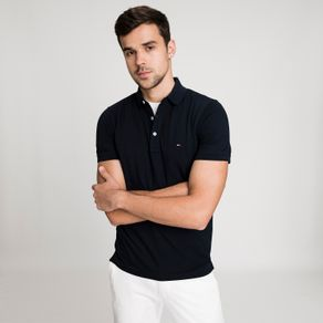 Tommy-Camisa-Polo-Masculina-Classica-Piquet-Slim-Fit-Manga-Curta-Lisa