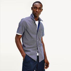 Camisa-Slim-Fit-De-Manga-Curta-Com-Microestampas